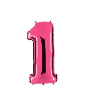 Цифра 1 розовая